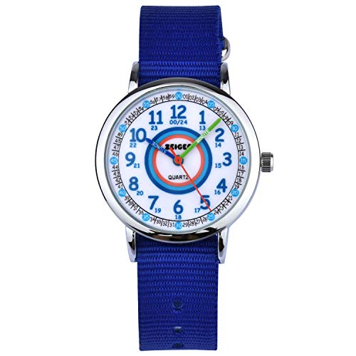 Montre Enfant Zeiger Montre Enfant Fille Nylon Bleu Time Teacher Easy-Read Cadran pedagogique KW109-NEW Montre d'enfant Fille Montre Fille Quartz