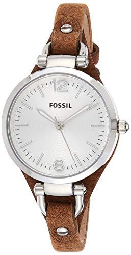 FOSSIL Montre Georgia femme / Montre-bracelet vintage avec cadran en acier argenté et bracelet élégant en cuir marron - Boîte de rangement et pile incluses