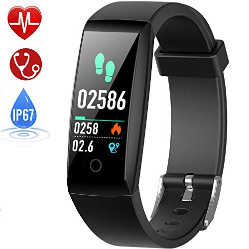 HETP Montre Connectée Cardiofréquencemètre Bracelet Connecté Podomètre GPS Fitness Tracker d'Activité Tension Artérielle Smartwatch Sport Femme Homme Étanche IP67 Montre Cardio pour Android iOS