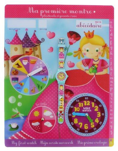 Baby Watch - Abc Petite Reine - Montre Fille - Quartz Pédagogique 3-6 ans - Cadran Jaune - Bracelet Plastique Bleu