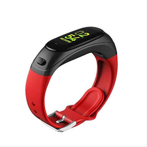 GYFKK Montre Intelligente Bracelet De Surveillance De La Fréquence Cardiaque Smartwatch Bluetooth Headset 2-en-1 Rouge